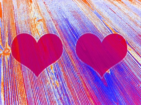 love symbols: Couple of magenta hearts on lined old wood background