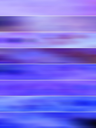 gloss banner: Blue and purple blurs on striped blurry background