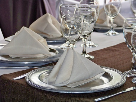 Anniversary elegant lunch table in white silver and brown Stock Photo - 12045574