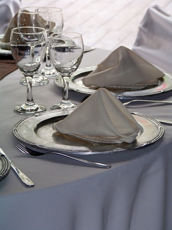 plate setting: Space for two on a luxury lunch celebration table Stock Photo