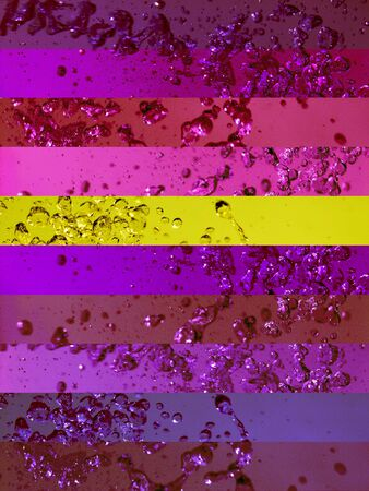 colortherapy: Profound pinkish purple and gold background with drops in banners