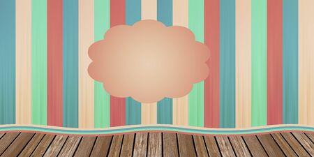 Illustrazione infantile di un sipario teatrale con colori tenui a righe oltre scenario in vero legno