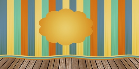 pales: Old scenario with striped curtain in yellow and blue over the platform of tables Stock Photo