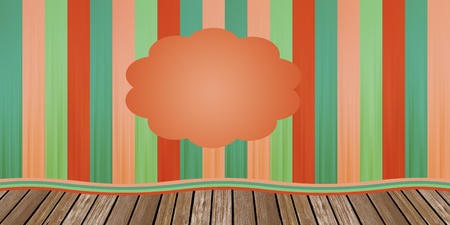 Circus or theatre closed curtain in red and green tones on the wood scenario photo