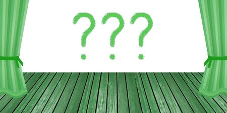 Signes d'interrogation au sujet de l'émission sur un vieux blanc escenario théâtre vert Banque d'images - 12045643