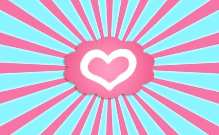 magentas: Heart icon in a pink dreaming balloon in the blue sky with sun rays Stock Photo