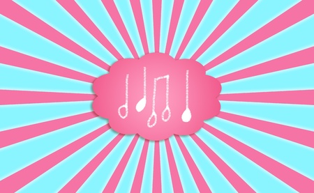 idealized: Musical notes icons in a pink dream cloud balloon in the light blue sky
