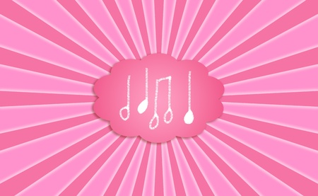 simetry: Music notes of a melody inspiring dreams in a dreaming cloud bubble on a pink sky with sunrays
