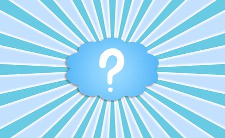 Questionmark, question, questions, demandez, demandez, fond bleu avec des rayons