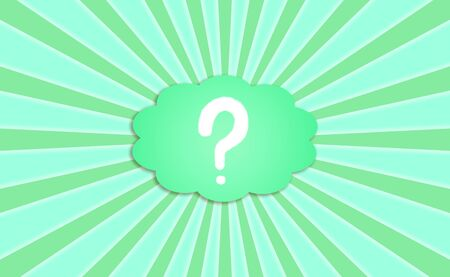 interrogating: Question mark in a thought cloud balloon in a sky in green