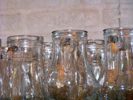 Group og empty glass jars of a bar Banco de Imagens
