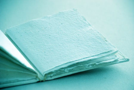 Inspiring cian atmosphere of light blue empty handbook with space for text photo