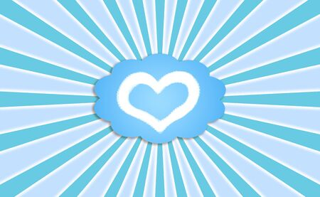 simetric: Powerful love dream in a bubble balloon in blue sky with rays