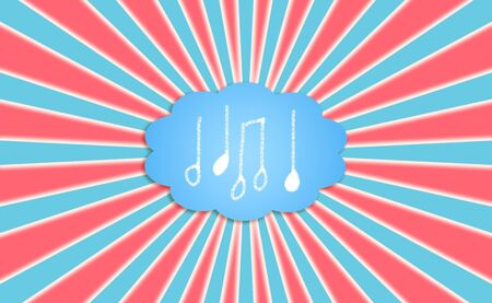 idealized: Red, blue and white rays with a dream cloud of music with icons of notes