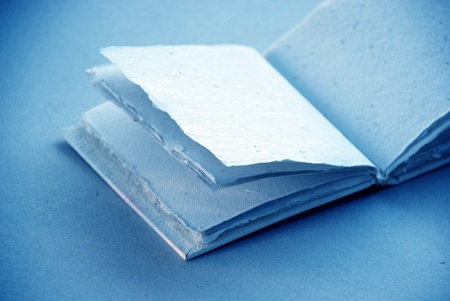 Blue soft artisanal cotton blank notebook photo