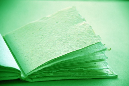 Light green cotton handmade empty scrapbook to write photo