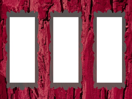 Rustic wood background with three empty frames with white to fill with images photo