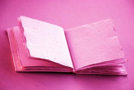 scrapbook homemade: Pinkish purple empty book to inspire dreams to write