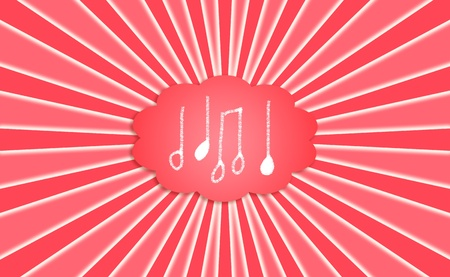 composing: Composing energetic inspirational music, icons in red dream cloud with rays  Stock Photo