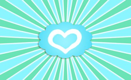 simetry: Dreaming with a healthy love metaphor of a heart icon in a dream cloud on a sky with green rays Stock Photo