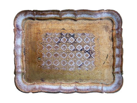Elegant vintage gold wood tray isolated over white Stock Photo - 12126759