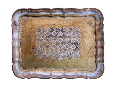 Elegant vintage gold wood tray isolated over white Stock Photo - 12126759