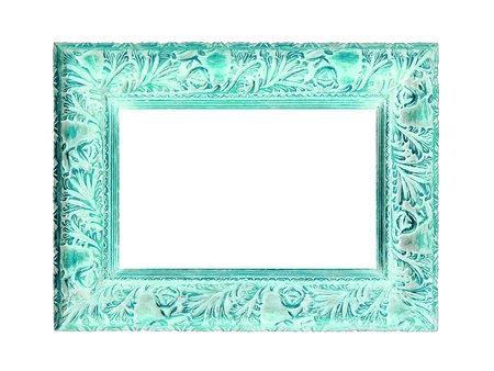 Antique carved wood elegant frame with aqua color patina on white photo