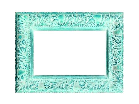 patina: Antique carved wood elegant frame with aqua color patina on white