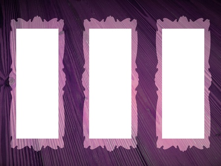Three pictures frames with rectangles shapes on purple vintage wood background  photo