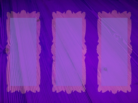 Intense blueish purple background with a trio of rectangular empty marquees photo