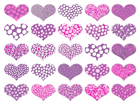 magentas: Set of textured hearts in pink and purple for Valentine Stock Photo