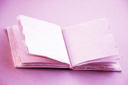 multi story: Romantic cotton empty blank hand made book to write love memories Stock Photo