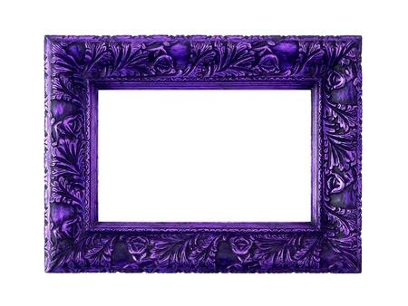 Dark Frame pourpre de bois avec une sculpture élégante isolé sur fond blanc Banque d'images - 12126932