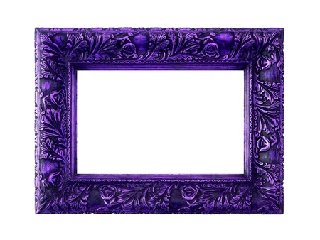 Dark purple frame of wood with an elegant carving isolated on white background photo