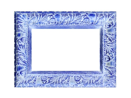 marquees: Blue elegant rectangular pictures frame on white