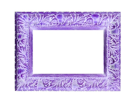 Violet patina of an isolated wood frame with pretty carved design Stock Photo - 12126927