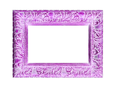 marquees: Beautiful femenine picture frame of old carved wood in dark pink or light violet Stock Photo