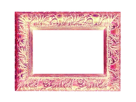 wood molding: Red and yellow old wood molding frame isolated over white Stock Photo