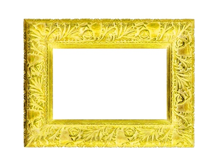Brilliant yellow frame of antique carved wood design isolated on white