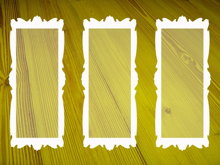 Greenish yellos old background with three blank frames for pictures photo