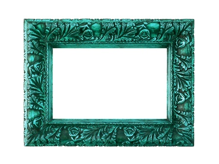 Green and turquoise empty isolated frame for pictures photo