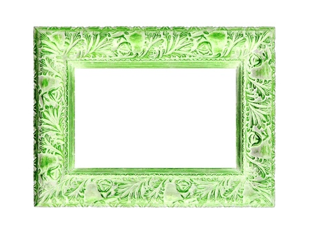 Light green isolated wood frame on white photo