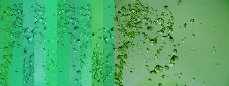 colortherapy: Variety of greens in liquid movements with drops on a large horizontal background