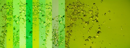 portada: Long horizontal background with light green banners backgrounds of water drops
