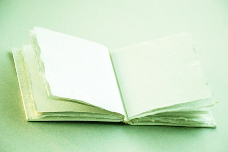 An empty blank romantic cotton handmade book opened in the middle photo