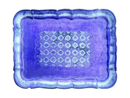 oldish: Oldish light blue tray over white background