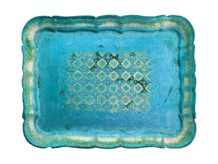 Turquoise antique tray isolated on white photo