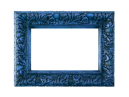 marquees: Elegant rectangular frame painted on dark blue over white background Stock Photo