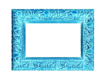 Turquoise of aqua gesneden oude houten frame op een witte achtergrond Stockfoto