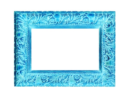 Turquoise or aqua carved old wood frame isolated on white background